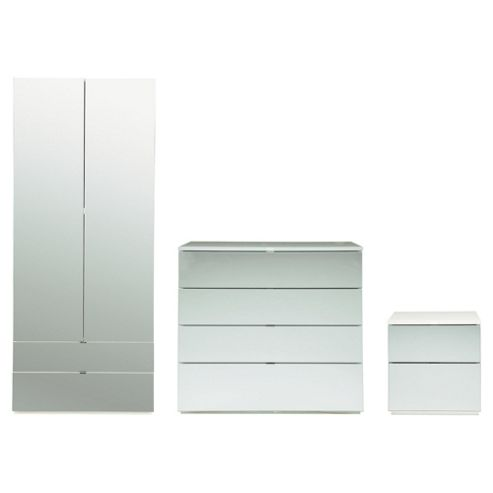 Palermo Package 1 White (Wardrobe, Bedside and 4 Drawer Chest)-Mirrored