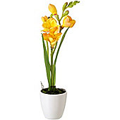 Parlane Artificial Yellow Freesias Flower In Ceramic Plant Pot - 32 x 8cm