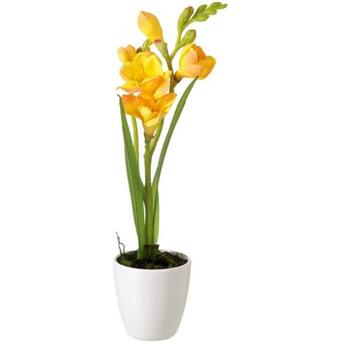 buy parlane artificial yellow freesias flower in ceramic. Black Bedroom Furniture Sets. Home Design Ideas