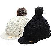 Alpine Stars Snow Bunny Girls Peaked Beanie - Black