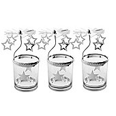3 x Star Carousel Glass Christmas Tea Light Candle Holder Decorations