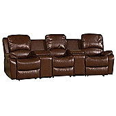 Global Furniture Direct Cinema Style Bonded Leather 3 Seater Sofa - Brown
