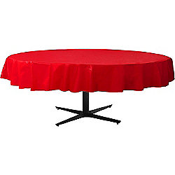 Red Round Tablecover - Plastic - 86cm x 2.1m