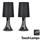 Pair of Trumpet Touch Table Lamps in Black Chrome with Black Shades