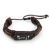 Unisex Brown Leather 'Vector' Bracelet - Adjustable