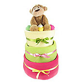 Bright 3 Tier Baby Girl Nappy Cake