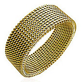 Urban Male Men's Gold Stainless Steel Mesh Ring 8mm