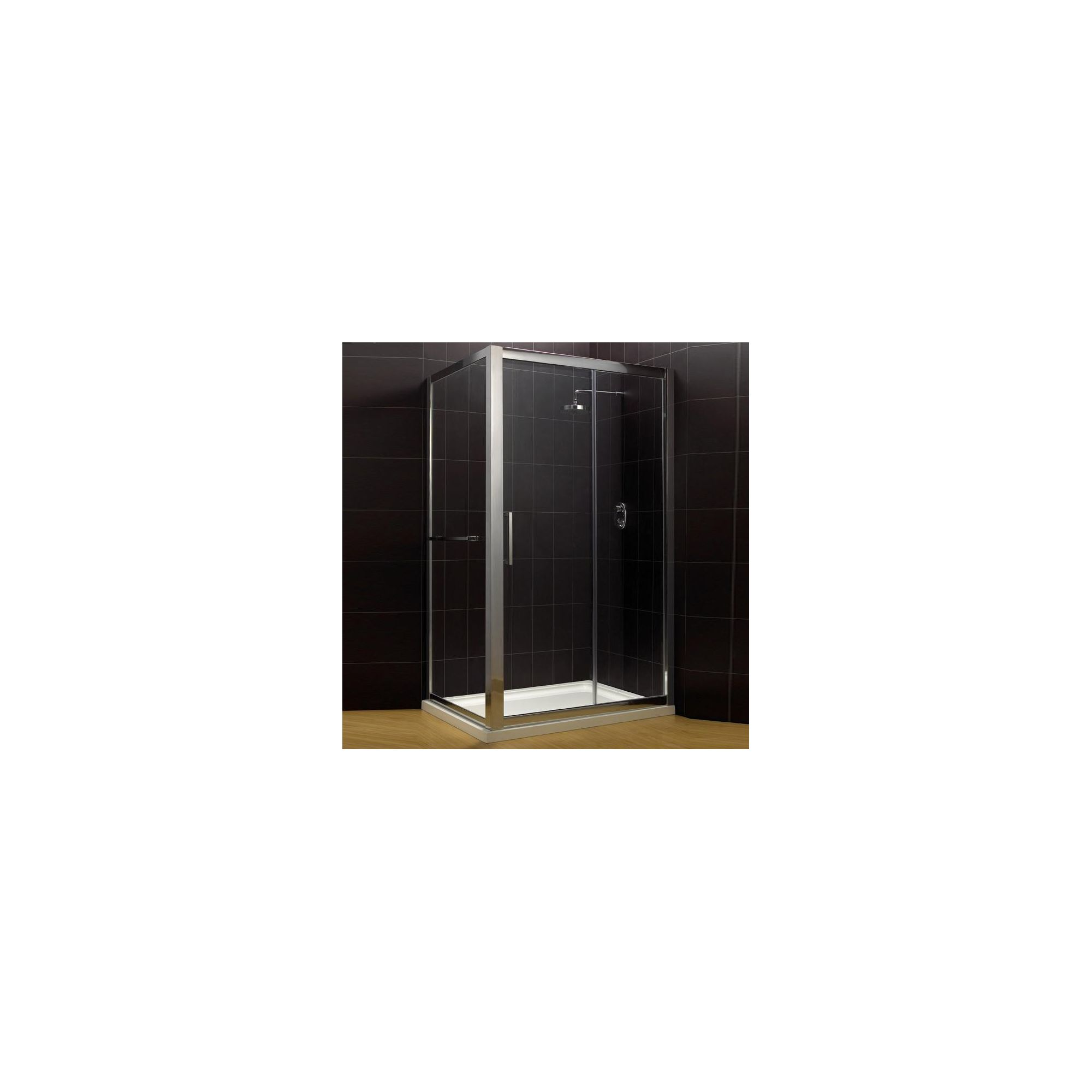 Duchy Supreme Silver Sliding Door Shower Enclosure with Towel Rail, 1400mm x 760mm, Standard Tray, 8mm Glass at Tesco Direct