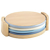 Blue coasters in Holder 4pk