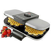 Andrew James Double Waffle Maker in Silver