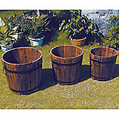 Barrel - Solid Wood Garden Flower Planter / Pot - Set Of 3 - Burntwood