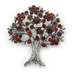 Dark Amber Coloured Crystal 'Tree Of Life' Brooch In Gun Metal Finish - 52mm Length