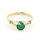 QP Jewellers Diamond & Emerald Aspire Ring in 14K Gold