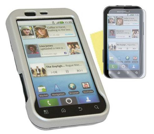 iTALKonline Silver Hybrid Case, Screen Protector and Cleaning Cloth - For Motorola Defy MB525