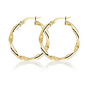 Jewelco London 9ct Yellow Gold - Twisted Hoop Earrings -