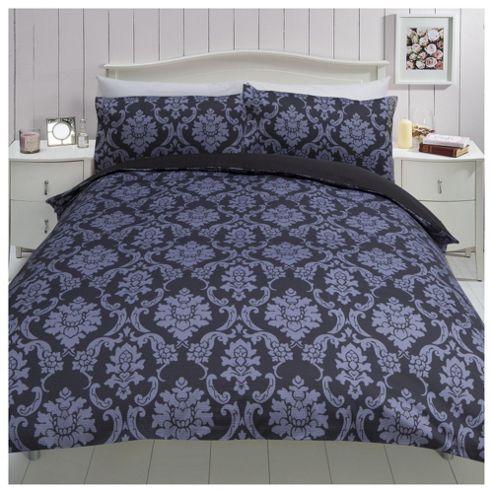 damask floral print double duvet set black grey 50. Black Bedroom Furniture Sets. Home Design Ideas