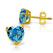 QP Jewellers 3.25ct Blue Topaz Heart Stud Earrings in 14K Gold