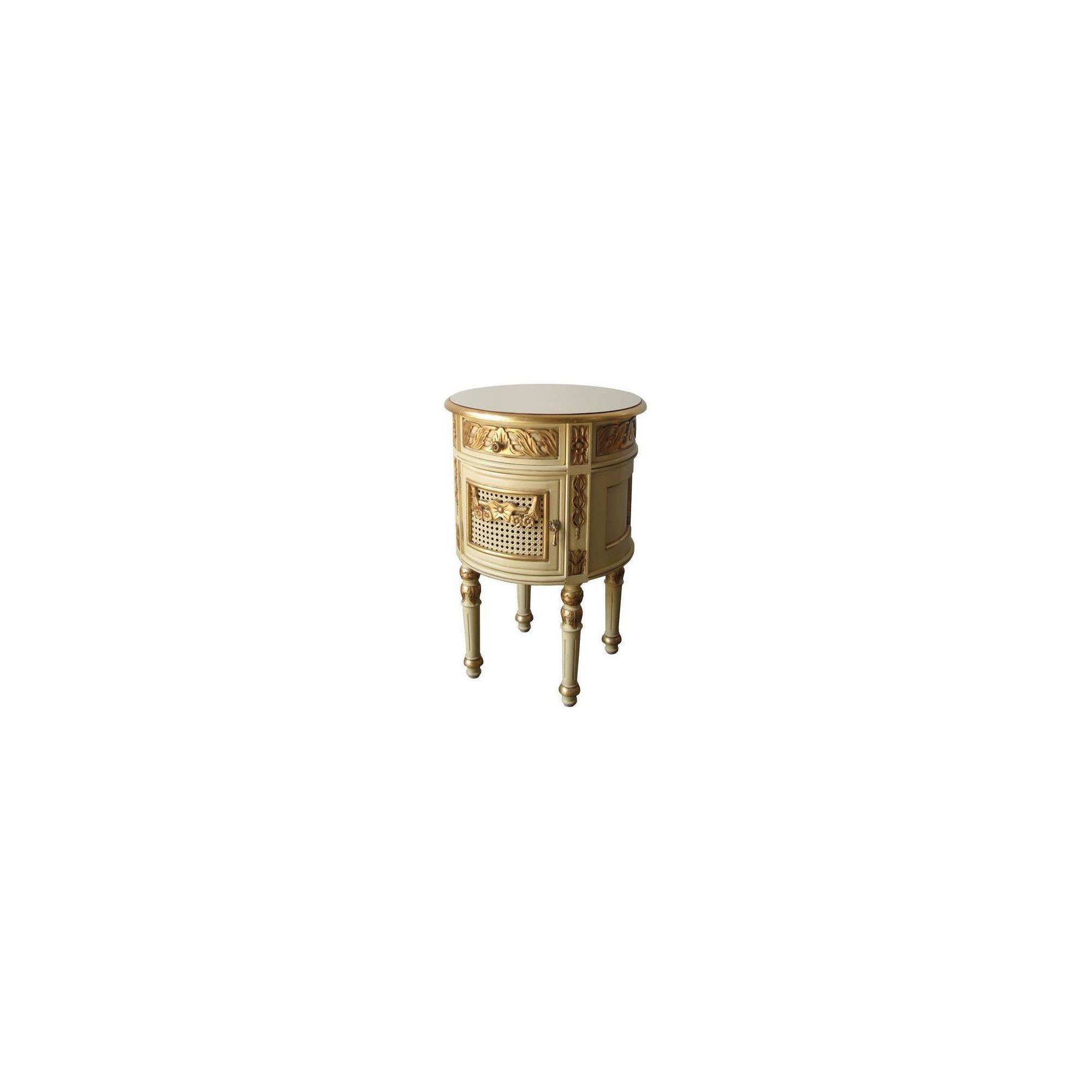 Lock stock and barrel Mahogany French Round Bedside Table in Mahogany - Wax at Tesco Direct