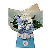 Boys Blue Baby Clothes Bouquet with toy