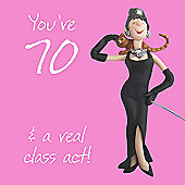 Holy Mackerel Happy 70th Birthday. Your 70, & A Real Class Act Greetings Card