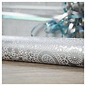Tesco Silver Doily Christmas Wrapping Paper, 4m