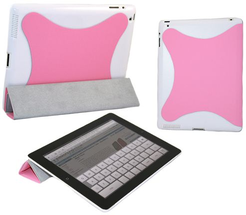 iTALKonline 19132 Pink White Hard Smartie Case/Cover (Front & Back) - Apple iPad 2 16gb 32gb 64gb