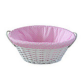 Wicker Valley Willow Oval Lining Basket in Pink Spot