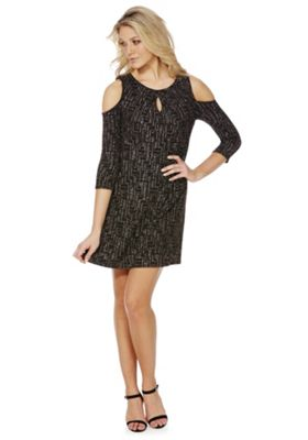 Buy F Amp F Geo Sparkle Cold Shoulder Swing Dress From Our