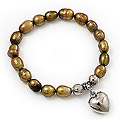 Brass Coloured Freshwater Pearl Silver Metal 'Heart' Flex Bracelet (Up To 19cm Length)