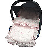 Broderie Anglaise Car Seat Footmuff To Fit graco Junior Baby/Logico Pink