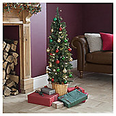 Festive Pre-Lit Rhode Island Slim Christmas Tree, 4ft