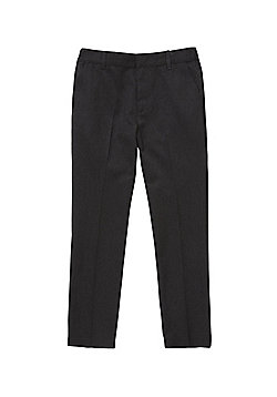 F&F School Boys Flat Front Slim Leg Trousers - Dark grey