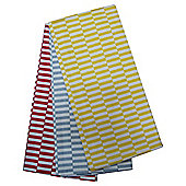 Tesco Retro Rectangle Lemon Blue & Red Tea Towel 3 Pack