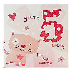 Pink Fizz Girls 5th Birthday Card
