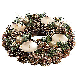 Christmas Wreath and Candle Holder, Gold
