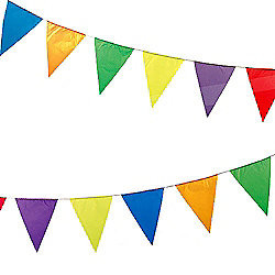 Multicoloured PVC Bunting for Decorating Parties, Fetes, Bazaars - 8.5 metres