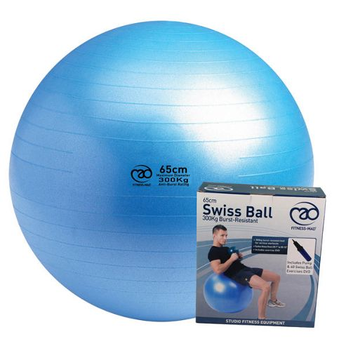 Fitness-Mad Swiss Ball, Pump & DVD Blue 55cm