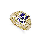 Jewelco London 9ct Solid gold Masonic Ring with swivelling Enamelled cushion shaped emblem