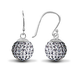 Jewelco London Sterling Silver Crystal 12mm Disco Dazzle Ball Drops Shamballa Earrings - white