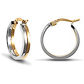 Jewelco London 9ct Yellow and White Gold Hoops