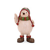 Cute Winter Bird with Red and Green Hat and Scarf Ornament For Christmas