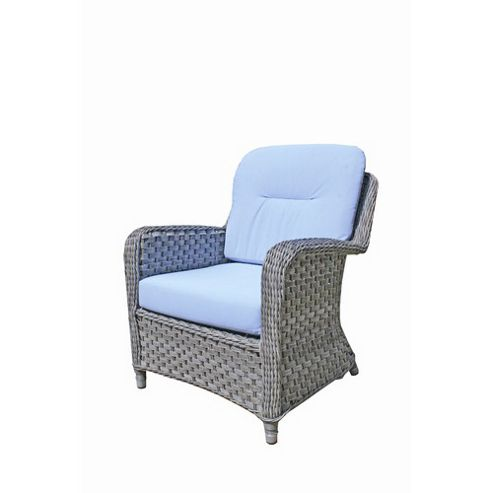 Bridgman Oxford Lounge Armchair in Sky Blue / Silver Grey