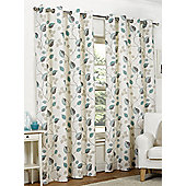 Amelia Ready Made Curtains Pair, 46 x 90 Teal Colour, Modern Designer Look Eyelet curtains