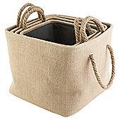 Jute Set Of 4 Storage Baskets Rope Handle