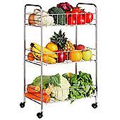 Premier Housewares 3 Tier Kit Storage Cart in Chrome