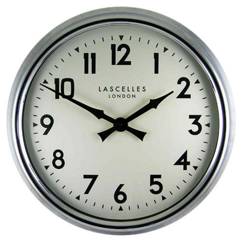 Roger Lascelles Clocks Large Wall Clock in Chrome