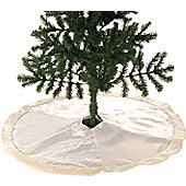 58CM WHITE/SILVER TREE SKIRT