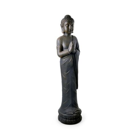 Large Standing Stone Look Resin Buddha Garden Ornament with Palms Together