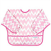 Bumkins Waterproof Sleeved Bib (Pink Chevron)