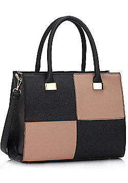 KCMODE Ladies Black / Nude Fashion Tote Handbag